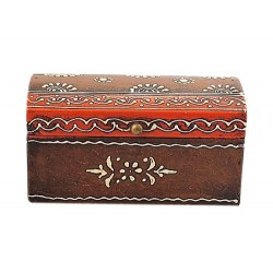 Hand painted Wooden Brown Red Treasure Chest Box from India (BXP34)