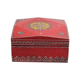 Hand painted Wooden Red big square Box from India (BXP33)