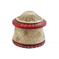 Hand painted Wooden White with Red Round Box from India (BXP18)