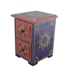 Set of 2 wooden drawers hand painted in Red and Purple (BXPD43)