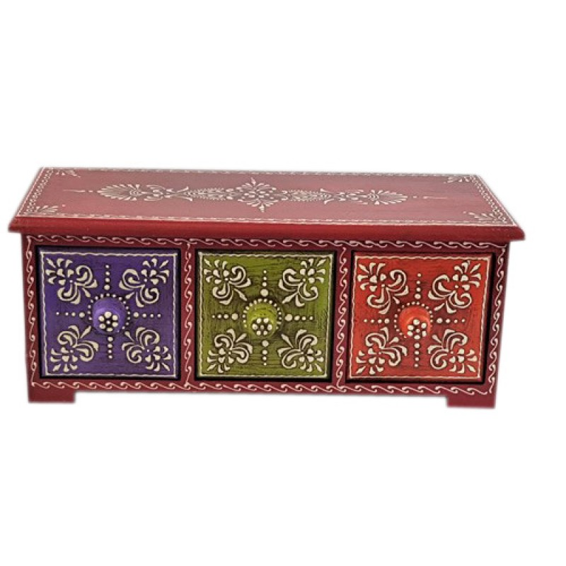Set of wooden drawers hand painted in multi colour