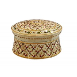 Tobacco Box Wood Bone overlay Embossed in Gold paint (BXWB42)