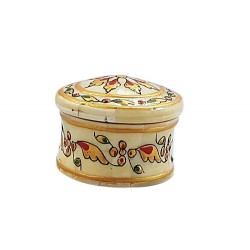 Wood Bone overlay Embossed in gold Paint Round Box (BXWB11-1)