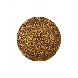 Set of Six Brass Metal Embossed Metal Drink Coasters (CBR-4)