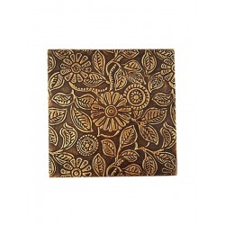 Set of Six Brass Metal Embossed Metal Drink Coasters (CBS-2)