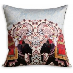 Elephant Digital Print on Velvet Cushion Cover (CCNG-13)