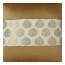Gold White Brocade Cushion Cover (CCFF-3)
