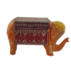 Hand painted Orange Elephant Jewellery Box (BXP45)