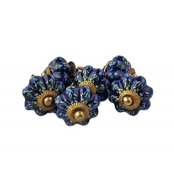 6 Ceramic Knobs-Blue  (K13)