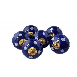 6 Ceramic Knobs-Blue with White Dots (K5)