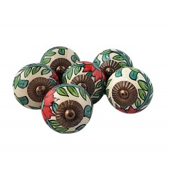 6 Ceramic Knobs-Flower (K18)