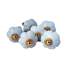 6 Ceramic Knobs-Light Blue (K21)