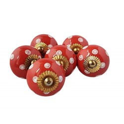 6 Ceramic Knobs-Red and White (K8)