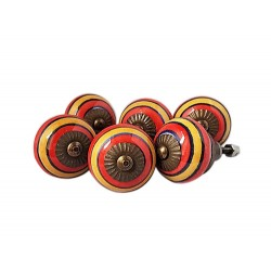 6 Ceramic Knobs-Red and Yellow Stripes (K16)