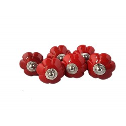 6 Ceramic Knobs-Red (K20)