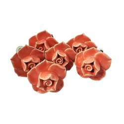 6 Ceramic Knobs-Rose (K19)